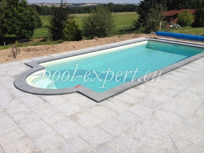 Rectangular swimming pool Styropool with roman step 700 x 350 x 150 cm